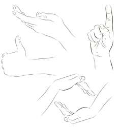 Sketches of hands vector