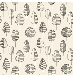 Handdrawn seamless doodle pattern of trees vector