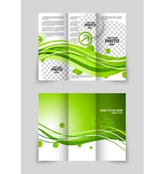 Green wave tri-fold brochure vector