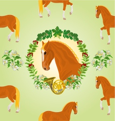 Sorrel horse head of stallion leaves and french h vector