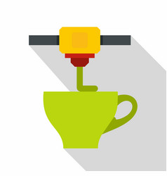 3d printer printing green cup icon flat style vector