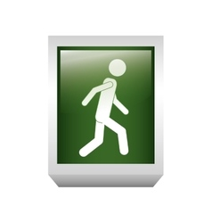 3d rectangle button with cross people silhouette vector