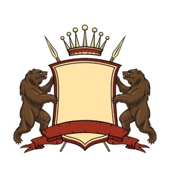 Heraldic logo element bears with shield and vector