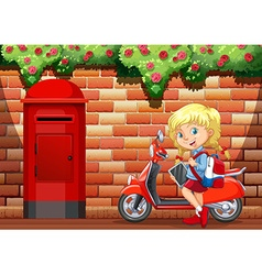 Little girl and motorcycle on sidewalk vector