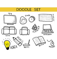 Doodle set of elements an interior handmade sketch vector