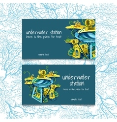 Two cards with underwater stations and text vector