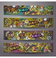 Cartoon hand-drawn doodle cosmetic banners vector