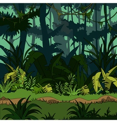 Cartoon green thickets in the jungle vector