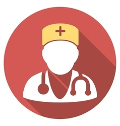 Physician flat round icon with long shadow vector