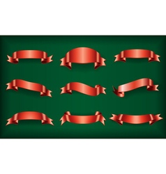 Red ribbons set green vector