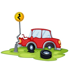 A red car bumping the signage at the road vector image