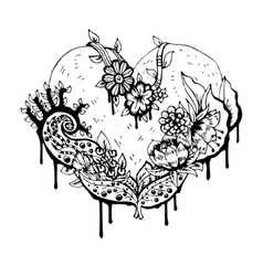 Abstract black and white heart vector