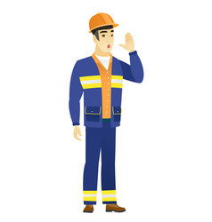Asian builder calling for help vector