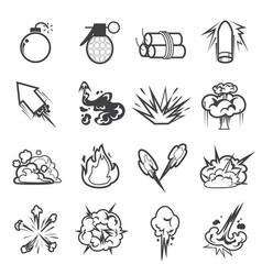 bomb icon set 2 vector image vector image