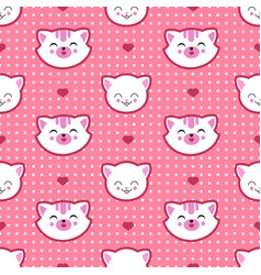 cat and kitten faces seamless pattern vector image vector image