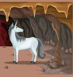 cave interior background with unicorn greek vector image vector image