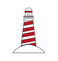 Color silhouette image red striped lighthouse on vector
