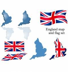 England map and flag set vector image