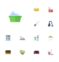 flat icons wisp besom towel and other vector image