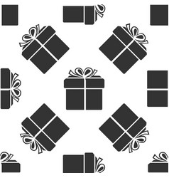 gift box icon seamless pattern on white background vector image