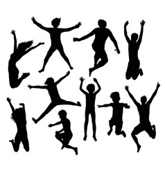 Happy jumping kid and family silhouettes vector