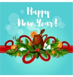 Happy new year card with mulled wine vector