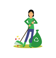 happy woman cleaning and raking leaves save green vector image vector image