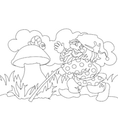 Image of gnome and caterpillar on mushroom vector image