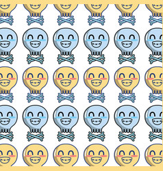 Kawaii cute tender skull with bones background vector
