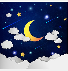 Moon and stars in the clouds vector image vector image