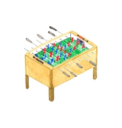 Old fashioned foosball or kicker table watercolor vector