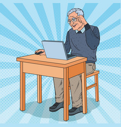 Pop art happy senior man using laptop vector
