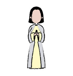 Saint virgin mary holy religious image cartoon vector