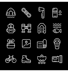 Set line icons of camping vector