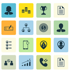 Set of 16 human resources icons includes pin vector