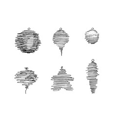 Set of pen sketched christmas decorations vector