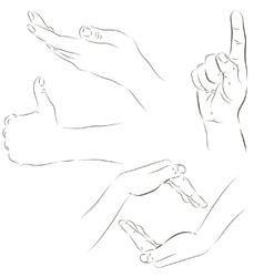 Sketches of hands vector