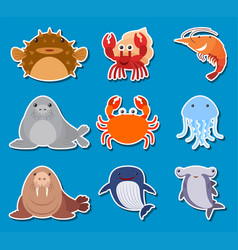 Sticker design for sea animals vector