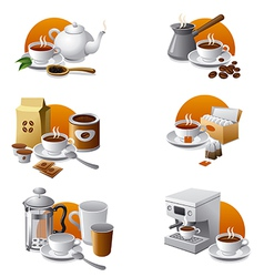 tea and coffee icons vector image vector image