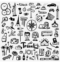 travel doodles set vector image vector image