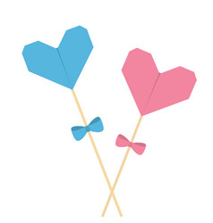 Two sticks with origami folded paper hearts and vector
