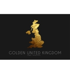 United kingdom map golden united kingdom logo vector