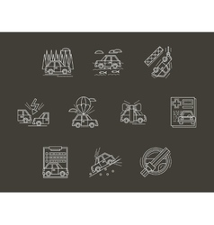 White line car insurance icons set vector
