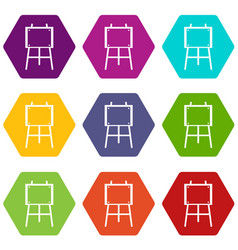 wooden easel icon set color hexahedron vector image