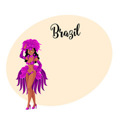 young woman dressed for brazilian carnival in rio vector image vector image