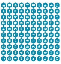 100 tea cup icons sapphirine violet vector image vector image