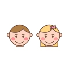 Happy cartoon laughing boy and girl character vector image