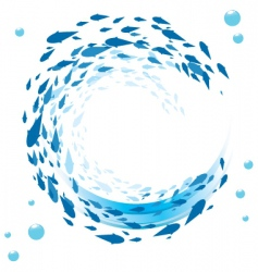 fish and bubbles background vector image