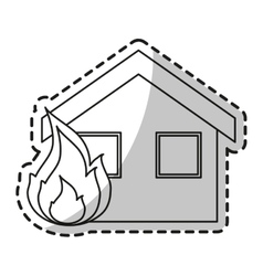 Isolated house on fire design vector