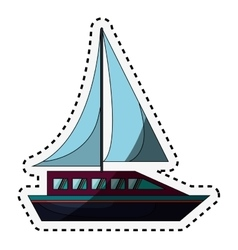 Sail boat isolated icon vector